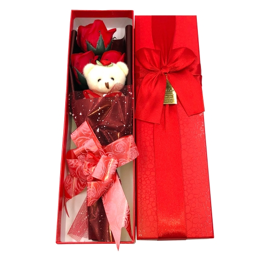 Red Soap Roses with Gift Box Teddy Bear Valentine's Present