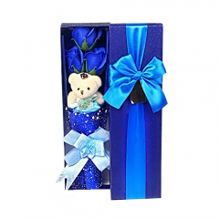 Scented Blue Soap Roses Teddy Bear Valentine's Present
