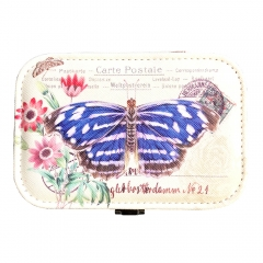 Butterfly Print Jewelry Box Organizer with Mirror (Blue)
