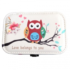 Owl Pattern Travel Jewelry Box Organizer