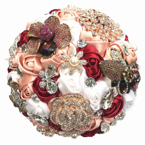 Blush Pink Rhinestone Pearl Jewelry Brooch Wedding Bouquet