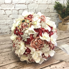Moon Star Jewelry Wedding Brooch Bouquet Silk Rose