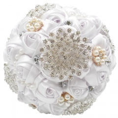 Satin Rose Wedding Bouquet with Sparkle Rhinestone Jewelry