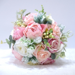 Light Pink Rose White Peony Wedding Bouquet