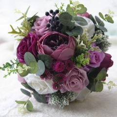 Real Touch Rose Peony Wedding Bouquet in Plum Lavender