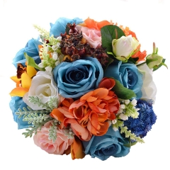 Blue Coral Rose Bouquet with Berry Leaf Decoration