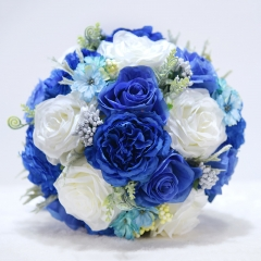 10 inches Royal Blue Rose Bouquet with Satin Ribbon