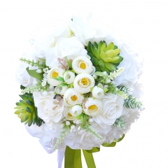 White Rose Bride Wedding Bouquet with Succulents