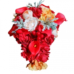 Blooming Red Rose Cascading Waterdrop Bride Bouquet