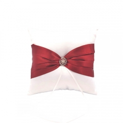 Double Heart Rhinestone Wedding  Ring Bearer Pillow Burgundy