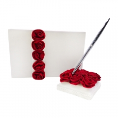 Burgundy Satin Rose Decor Wedding Guest Book  and Pen Set