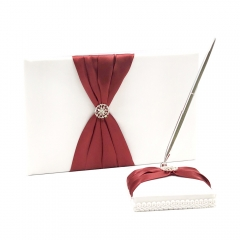 Double Heart Rhinestone Wedding Guest Book and Pen Set Burgundy