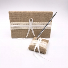 Linen Cover Wedding Guest Book and Pen Set