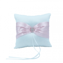Double Heart Rhinestone Wedding  Ring Bearer Pillow Pink