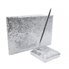 Silver Sequin Glitter Wedding Guest Book and Pen Set