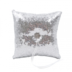 Silver Sequin Glitter Wedding Ring Bearer Pillow