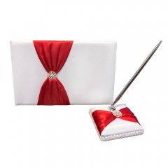 Double Heart Rhinestone Wedding Guest Book and Pen Set Red