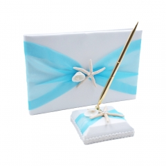 Organza Bowknot Wedding Guest Book and Pen Set Romantic Beach Wedding Tiffany Blue