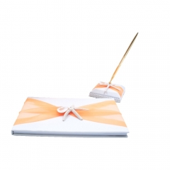 Organza Bowknot Wedding Guest Book and Pen Set Romantic Beach Wedding Orange