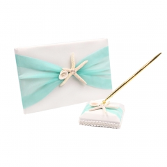 Organza Bowknot Wedding Guest Book and Pen Set Romantic Beach Wedding Light Green