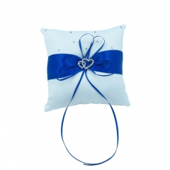 Double Heart Rhinestone Wedding Ring Bearer Pillow Royal Blue