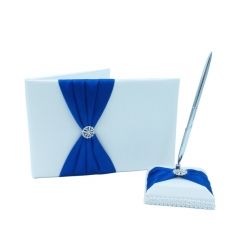 Double Heart Rhinestone Wedding Guest Book and Pen Set Royal Blue
