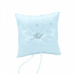 Double Heart Rhinestone Wedding Ring Bearer Pillow Milk White