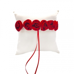 Burgundy Satin Rose Decor Wedding Ring Bearer Pillow