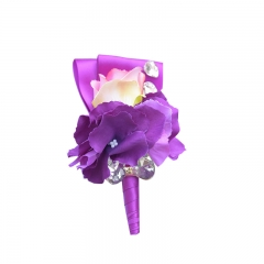 Purple Orchid Pink Rose Boutonniere for Guests on Prom Wedding
