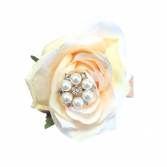 Crystal Pearls and Jewels Decorated Boutonniere Pin