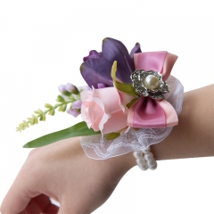 Dusty Pink Peony Rose Wrist Corsage Pearl Jewel Décor