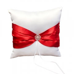 Double Heart Rhinestone Wedding  Ring Bearer Pillow Red