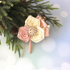 Rose Gold Boutonniere with Rhinestone Pearls Jewelry