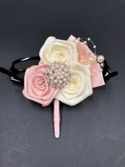 Rhinestone Pearls Boutonniere Blush Pink Rose for Wedding Prom