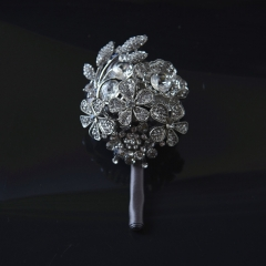Full Rhinestone Covered Brooch Pin Crystal Roses Boutonniere