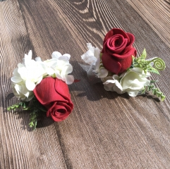 rom Corsage Boutonniere Set Rose Flower Pin Wristlet for Party