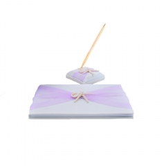 Organza Bowknot Wedding Guest Book and Pen Set Romantic Beach Wedding Light Purple