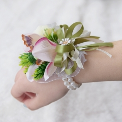 Pink Lily White Peony Wrist Corsage Flower