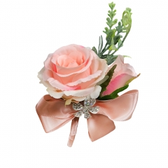 Blush Pink Rose Buds Rhinestone Jewelry Boutonniere Pin