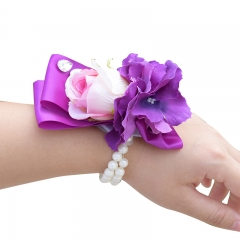 Purple Orchid Pink Rose Wrist Corsage
