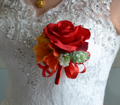 Brooch Pin Red Rose Boutonniere for Prom Wedding Party