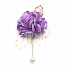 Classic Boutonnière for Prom Party Wedding Rhinestone Pearl