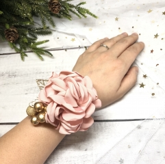 Blush Pink Wrist Corsage for Prom Party Wedding