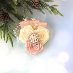Rose Gold Corsage with Rhinestone Pearls Jewelry