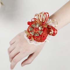 Red Rose Wrist Corsage with Gold Jewelry Flower Prom Wedding