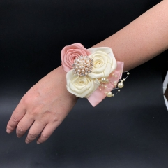 Rhinestone Pearls Corsage Blush Pink Rose for Wedding Prom