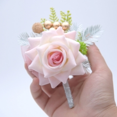 Blooming Rose Flower Golden Beads Décor Wrist Boutonniere