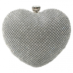 Heart Shaped Evening Bag Silver