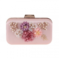 Hard Case Pearl Jewelry Flower Décor Evening Clutch Pink