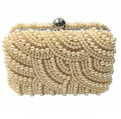 Pearl Beaded Evening Clutch Handbag Champagne